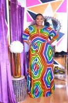 WGW Plus Size 4XL Colorful Stripe Three Quarter Sleeve Maxi Dress OMF024
