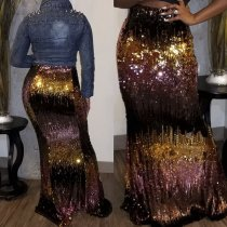 WGW Sexy Sequins High Waist Long Maxi Skirt CYA8212