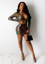 WGW Sexy Sequin Crop Top And Mini Skirt 2 Piece Sets CYA8233