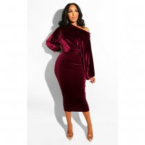 WGW Sexy Velvet Slash Neck Long Sleeve Midi Dresses ASL6091