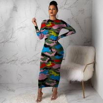 WGW Sexy Camouflage Print Long Sleeve Maxi Dress FSL058