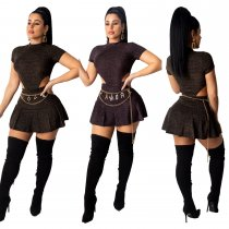 WGW Sexy Short Sleeve Bodysuit And Pleated Mini Skirt Sets CHY1210