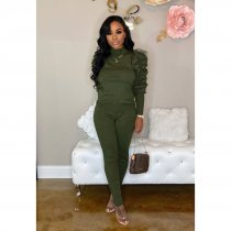 WGW Solid Turtleneck Puff Sleeve Two Piece Pant Sets PIN8468