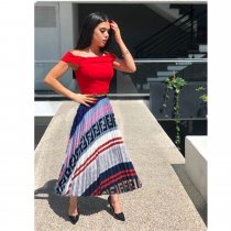 WGW Trendy Letter Print Pleated Long Skirt MDF5103
