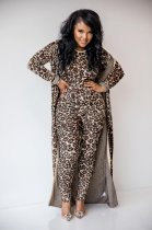 WGW Leopard Print Long Cloak And Jumpsuits 2 Piece Sets MOS970