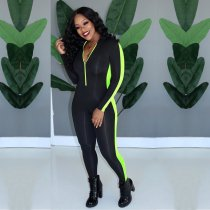 WGW Casual Long Sleeves Zipper Bodycon Jumpsuits YD8153
