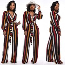 Colorful Stripe V Neck Sashes One Piece Jumpsuits OD8324