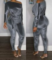 WGW Solid Long Sleeve Sashes Skinny One Piece Jumpsuits LQ5803