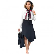 WGW Trendy Bow Tie Shirt And Irregular Skirt 2 Piece Sets MTY6233