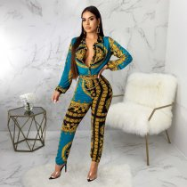 WGW Vintage Print Long Sleeve One Piece Jumpsuits SMR9485