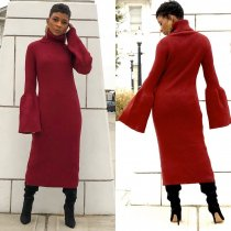 WGW Solid Long Sleeve Turtleneck Long Maxi Dress HM6181