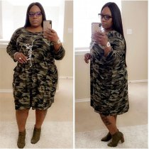 WGW Camouflage Print Long Sleeves Midi Dress Plus Size 5XL QY5149