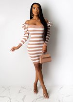 WGW Sexy Stripe Knitted Long Sleeves Mini Dresses BS1153