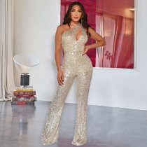 WGW Sexy Sequins One Shoulder Hollow Jumpsuits ME403