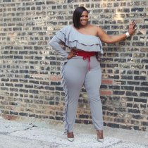 WGW Plus Size 4XL Sexy One Shoulder Ruffles Jumpsuits SMR9500
