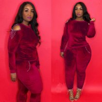 WGW Trendy Velvet Pearls Cold Shoulder Two Piece Suit LM8104