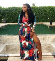 WGW Sexy Printed V Neck High Split Long Maxi Dresses OM1025