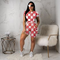 WGW Letter Printed Short Sleeve Casual Two Piece Sets WSM-5088