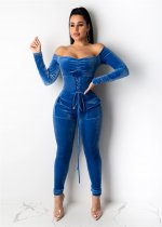 WGW Sexy Velvet Off Shoulder Lace Up Jumpsuits OSM3297