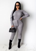WGW Solid Knitted Long Sleeves Two Piece Pants Set MA290