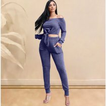 WGW Sexy Slash Neck Crop Top And Pants 2 Piece Outfit KSN5095