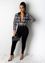 WGW Casual Printed Zipper Jacket And Pants 2 Piece Sets MIL077