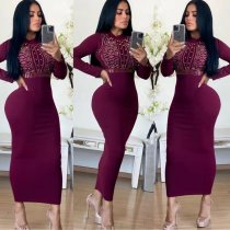WGW Sexy Hot Drilling Long Seeves Slim Maxi Dresses MYP8901