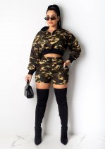 WGW Camouflage Print Long Seeves Two Piece Short Sets LUO3041