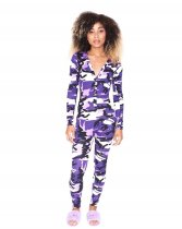 WGW Camouflage Print V Neck Long Sleeves Skinny Jumpsuits WY6647