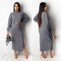 WGW Solid Long Sleeves Crop Top High Split Maxi Skirt Sets NY8872