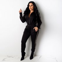 WGW Casual Zipper Long Sleeves Two Piece Pant Suits LUO6247
