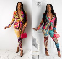 WGW Trendy Printed Blazer Tops Long Pants 2 Piece Suits CL6040