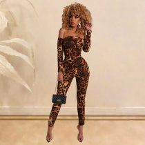 WGW Sexy Leopard Print Off Shoulder Lace Up Jumpsuits SHE7151