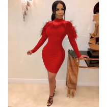 WGW Sexy Feather Mesh Patchwork Full Sleeve Bodycon Dress LUO6253