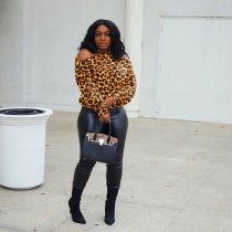 WGW Leopard Camo Print Off ShoulderFull Sleeve Tops GS1163