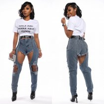 WGW Denim Patchwork Ripped Holes Long Jeans WY6642