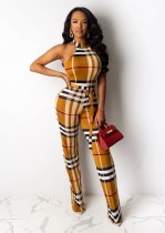 WGW Plaid Print Halter Backless One Piece Jumpsuits YIY5137