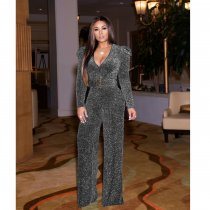 WGW Sexy Deep V Neck Long Sleeves Belted Jumpsuits WY6645