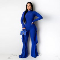 WGW Solid Ruffles Long Sleeves One Piece Jumpsuits SH3723
