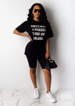 WGW Letter Printed T Shirt And Shorts Two Piece Sets YIY5141