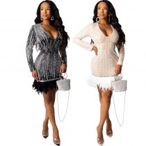WGW Sexy Sequin Pearls Feather Patchwork Mini Dress CYA8222