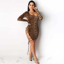 WGW Sexy Leopard Backless Lace Up Hollow Bodycon Dress YIY5145
