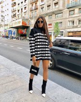 WGW Letter Printed Long Sleeves Loose Mini Dresses MYP8904