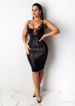 WGW Sexy Sequin Patchwork Spaghetti Strap Club Dress NY7069
