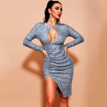 WGW Sexy Sequins Irregular Long Sleeve Bodycon Dress BY3335