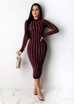 WGW Sexy Striped Long Sleeves Bodycon Dresses OSM4092