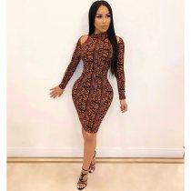 WGW Sexy Letter Print Cold Shoulder Bodycon Dress SHE7161