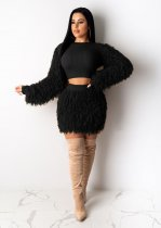 WGW Sexy Plush Long Sleeve Black Two Piece Skirt Sets PIN8486