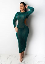 WGW Sexy Hollow Out Long Sleeves Bodycon Long Dress ML7278