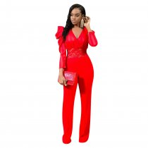WGW Sexy V Neck Lace Patchwork One Piece Jumpsuits YD8162